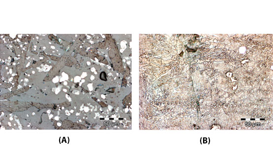 Microstructure of EAF slag before (A) and after (B) melt-quench treatment in a graphite furnace.