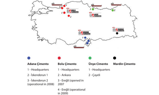 Oyak Cement Group factories in Turkey, with colour-coded key to plants and offices.